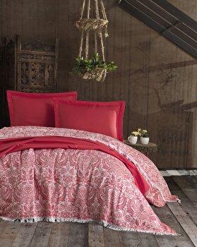 Set cuvertura, EnLora Home, bumbac, 240 x 260 cm, 162ELR9480, Rosu de la EnLora Home