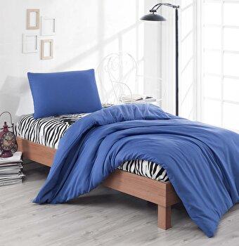 Set lenjerie de pat single, EnLora Home, bumbac/poliester, 160 x 240 cm, 162ELR1345, Albastru de la EnLora Home