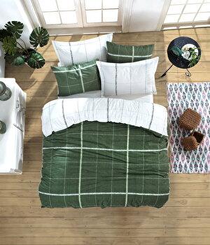 Set lenjerie de pat dubla, EnLora Home, bumbac ranforce, 240 x 260 cm, 162ELR2252, Verde de la EnLora Home