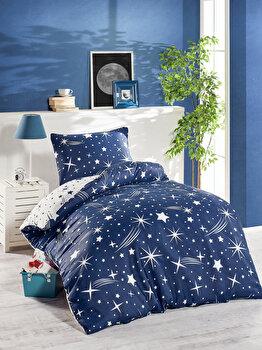 Set lenjerie de pat single, EnLora Home, bumbac/poliester, 140 x 220 cm, 162ELR9370, Albastru de la EnLora Home