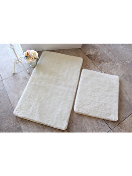 Set 2 x covoare de baie, Chilai Home by Alessia, 60 x 100 cm, 351ALS2162, acrilic, Alb de la Chilai Home by Alessia