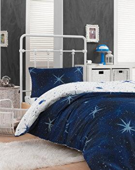 Set lenjerie de pat single, EnLora Home, bumbac/poliester, 160 x 240 cm, 162ELR9366, Albastru de la EnLora Home