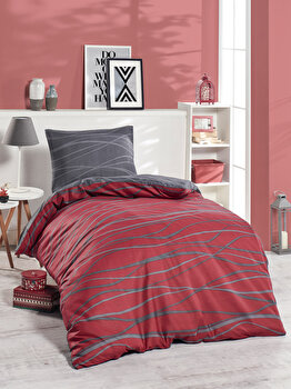 Set lenjerie de pat single, EnLora Home, bumbac/poliester, 140 x 220 cm, 162ELR9377, Rosu/Gri de la EnLora Home