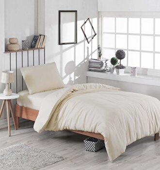 Set lenjerie de pat single, EnLora Home, bumbac/poliester, 160 x 240 cm, 162ELR1310, Gri de la EnLora Home