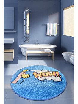 Covor de baie, Chilai Home, 100 cm, 359CHL4149, acrilic, Albastru de la Chilai Home