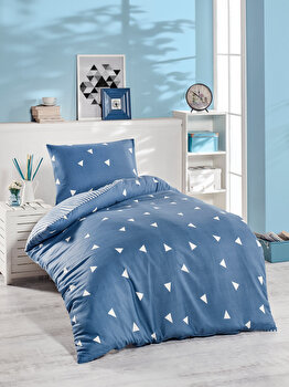Set lenjerie de pat single, EnLora Home, bumbac/poliester, 140 x 220 cm, 162ELR9380, Albastru de la EnLora Home