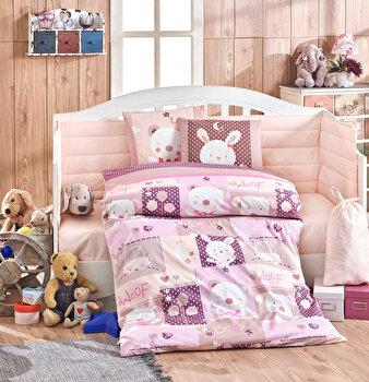 Set lenjerie de pat pentru copii, Hobby, bumbac poplin, 100 x 150 cm, 113HBY0053, Roz de la Hobby