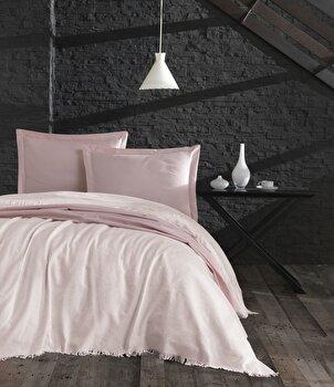 Set cuvertura, EnLora Home, bumbac, 240 x 260 cm, 162ELR9486, Roz de la EnLora Home