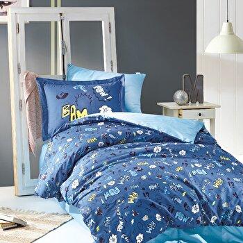 Set lenjerie de pat pentru copii, Marie Claire, bumbac ranforce, 160 x 240 cm, 153MCL2169, Albastru