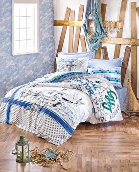 Set lenjerie de pat single, Cotton Box, bumbac ranforce, 160 x 240 cm, 129CTN2359, Multicolor de la Cotton Box