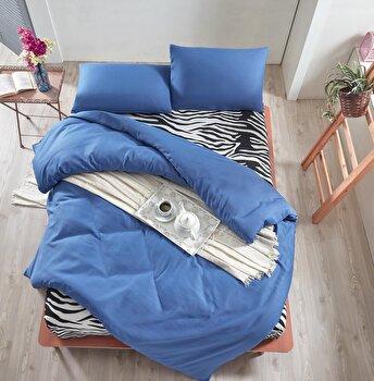 Set lenjerie de pat dublu, EnLora Home, bumbac/poliester, 220 x 240 cm, 162ELR1445, Albastru/Alb de la EnLora Home
