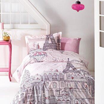 Set lenjerie de pat pentru copii, Marie Claire, bumbac ranforce, 160 x 240 cm, 153MCL2166, Roz de la Marie Claire