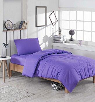Set lenjerie de pat single, EnLora Home, bumbac/poliester, 160 x 240 cm, 162ELR1314, Mov de la EnLora Home
