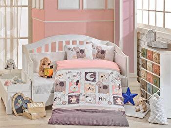 Set lenjerie de pat pentru copii, Hobby, bumbac poplin, 100 x 150 cm, 113HBY0057, Roz de la Hobby