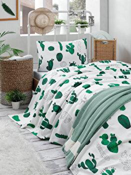 Cuvertura pentru pat single, EnLora Home, bumbac, 160 x 235 cm, 162ELR9396, Verde/Alb de la EnLora Home