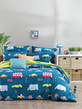 Set lenjerie de pat single, EnLora Home, bumbac ranforce, 160 x 240 cm, 162ELR2154, Multicolor de la EnLora Home
