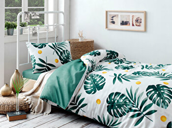 Set lenjerie de pat single, EnLora Home, bumbac/poliester, 160 x 240 cm, 162ELR9367, Verde/Alb de la EnLora Home