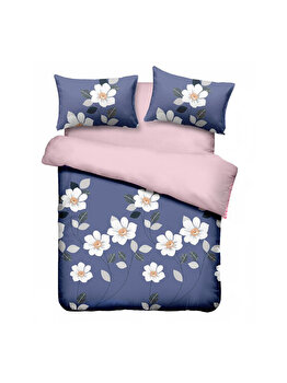 Lenjerie de pat dubla Blue Daisy, Vanora, 220 x 240 cm, VN-4BEDYX60-BDY, microfibra, Multicolor de la Vanora