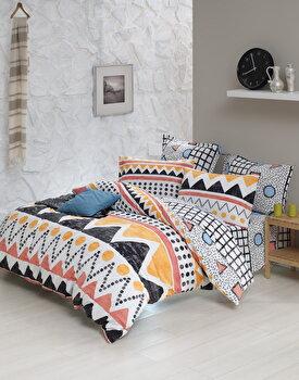 Set lenjerie de pat dubla, EnLora Home, bumbac ranforce, 240 x 260 cm, 162ELR2219, Multicolor de la EnLora Home