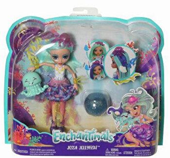 Enchantimals, papusa Jessa Jellyfish, cu par ce isi schimba culoarea de la Enchantimals