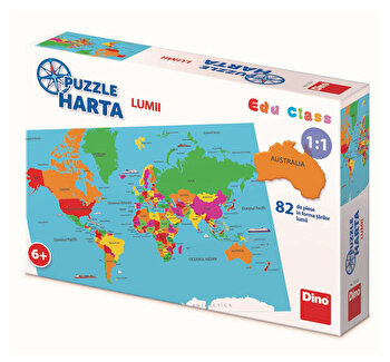 Puzzle geografic – Harta Lumii (82 piese) [ 712126 ] de la Dino Toys