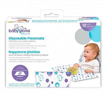 Suport de masa cu buzunar si benzi adezive de unica folosinta Baby Works , 12 buc de la Baby Works