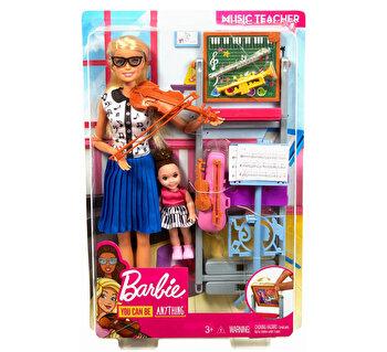 Barbie, cariere - set mobilier cu papusa profesoara de muzica