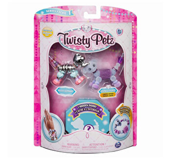 Twisty Petz set 3 bratari animalute elefant catel leusor de la Twisty Pets