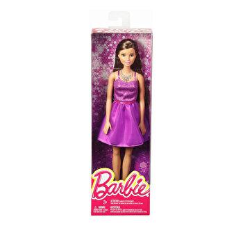 Papusi Barbie, tinute stralucitoare rochita mov de la Barbie