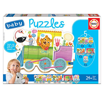 Puzzle Baby Animal Train, 19 piese