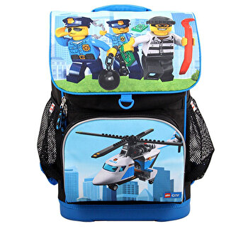 LEGO City, Ghiozdan scoala Optimo cu geanta sport Police Chopper de la LEGO