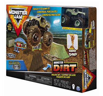 Monster Jam, set camioneta cu nisip si accesorii cu rampa de la Monster Jam