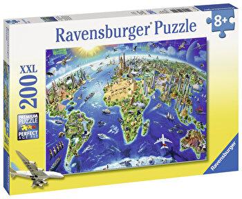 Puzzle Harta cu monumentele lumii, 200 piese de la Ravensburger