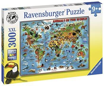 Puzzle Harta animalelor, 300 piese de la Ravensburger
