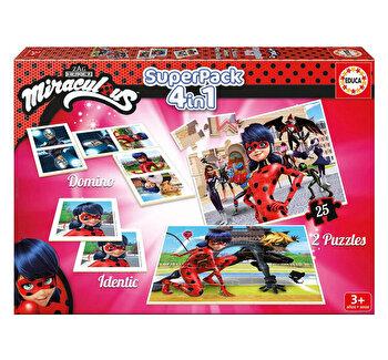 Superpack Miraculous - Joc Domino, Joc Identic, 2 x Puzzle 25 piese