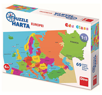 Puzzle geografic – Harta Europei (69 piese) de la Dino Toys