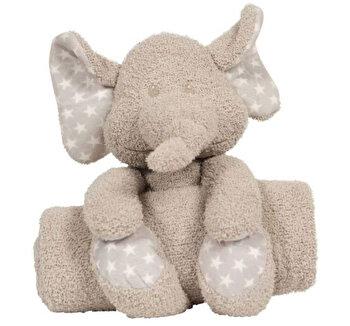 Jucarie de plus cu paturica pentru bebelusi Zimbe elefantul de la Bo Jungle