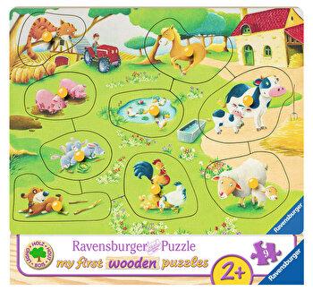 Primul meu puzzle din lemn Ferma animalelor, 9 piese de la Ravensburger