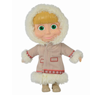 Papusa Masha, cu corp moale si hainute albe, 23 cm
