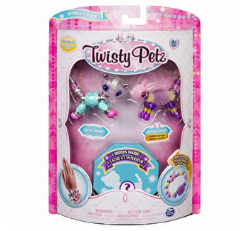 Twisty Petz set 3 bratari animalute panda iepuras pisica de la Twisty Pets