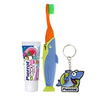 Set igiena orala pentru copii Travel ( periuta de dinti, pasta de dinti, accesoriu pentru pasta de dinti) PIERROT de la PIERROT