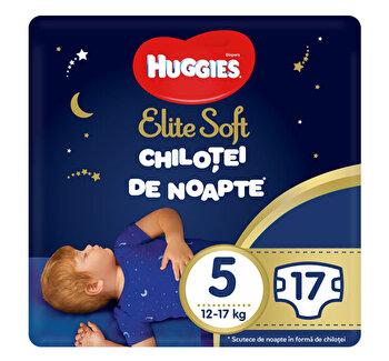 Scutece-chilotel de noapte Huggies Elite Soft (nr 5) 17 buc, 12-17 kg de la Huggies