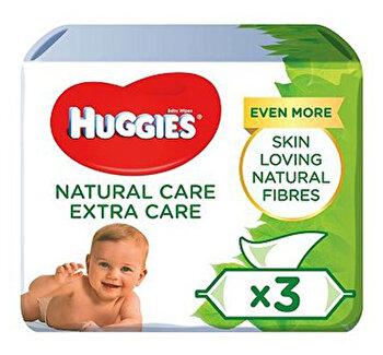 Set servetele Huggies Natural Extra Care, Triplo 3 x 56 buc