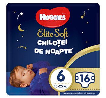 Scutece-chilotel de noapte Huggies Elite Soft (nr 6) 16 buc, 15-25 kg