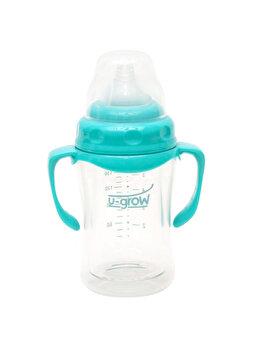 Biberon din sticla cu gat larg si protectie plastic moale U-Grow A-1055, 0-3 luni, 120 ml de la U-Grow