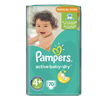 Scutece Pampers Active Baby Maxi Plus 4+ Giant Pack, 10-15 kg, 70 buc de la Pampers