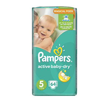 Scutece Pampers Active Baby Junior 5 Giant Pack, 11-16 kg, 64 buc de la Pampers