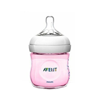 Biberon Natural Philips-Avent SCF031/17, cu tetina debit lent, Roz, 125 ml de la Philips Avent