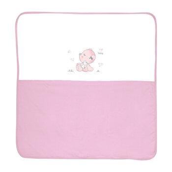 Paturica bumbac bebe, 90 x 90 cm, ZA ZA, Pink de la Lorelli
