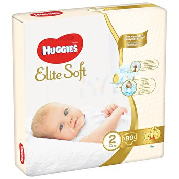 Huggies Elite Soft (nr 2) Mega 80 buc, 4-6 kg de la Huggies